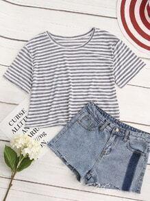 Contrast Striped Crop Tshirt