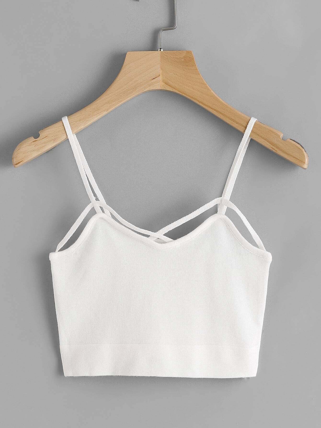 Strappy Knit Crop Cami Top