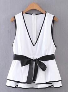 Buy Contrast Binding Tie Waist Layered Top