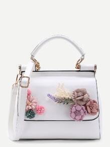 Applique Flower PU Shoulder Bag