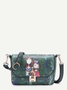 Flower Detail Cartoon Print PU Crossbody Bag