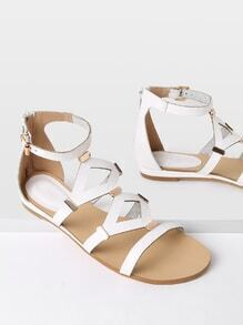 Metal Detail Cut Out Flat Sandals