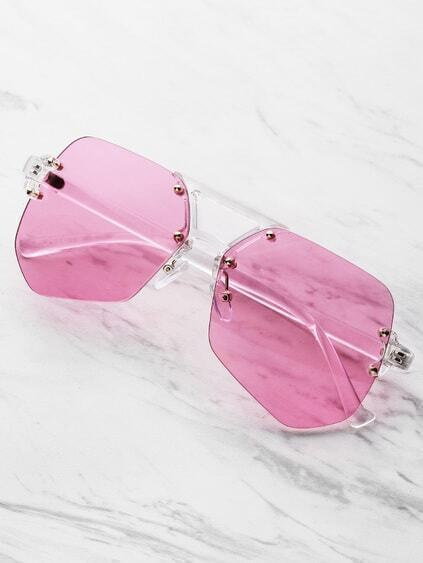 Clear Frame Polygon Sunglasses