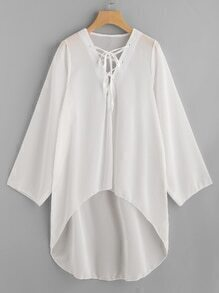 Lace Up V Neck High Low Beach Chiffon Cover Up