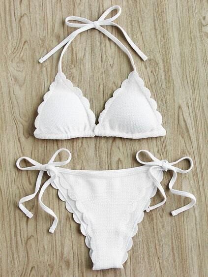 Scalloped Trim Side Tie Halter Bikini Set