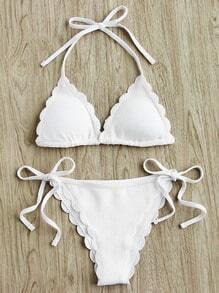 Scalloped Trim Side Tie Halter Bikini Set