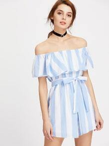 Flounce Layered Neckline Striped Romper With Belt