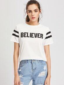 Tee-shirt imprimé de 'Believer'à rayures