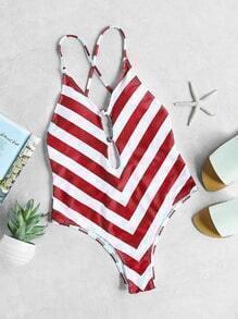 Chevron maillot de bain à motifs de V profond col avec des bandes transversales - blanc rouge