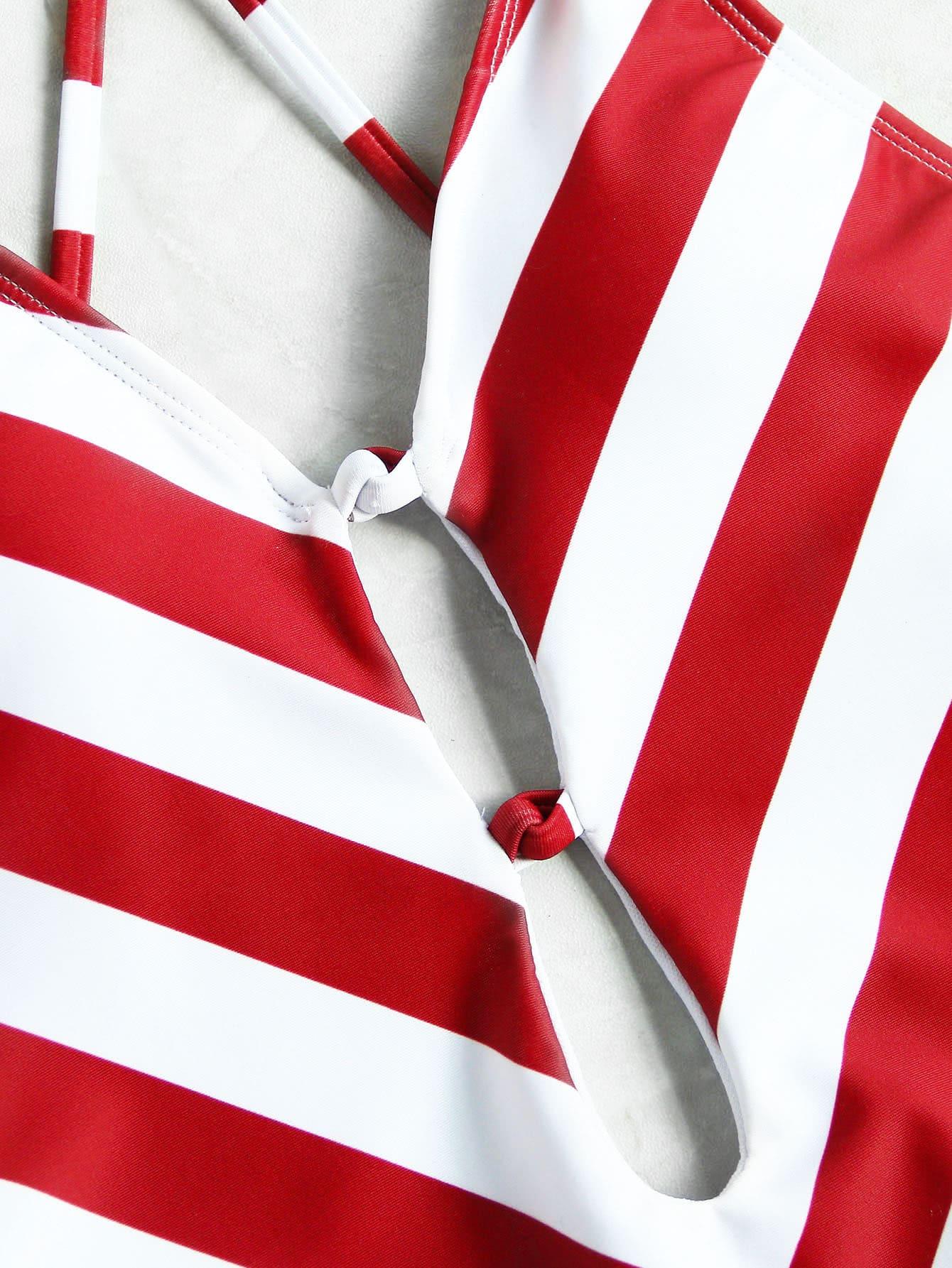 Maillot de bain motifs de v profond col avec des bandes for Interieur paupiere inferieure rouge