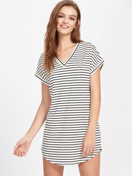 V Neckline Striped Curved Hem Dress