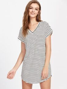 V Neckline Striped Curved Hem Dress