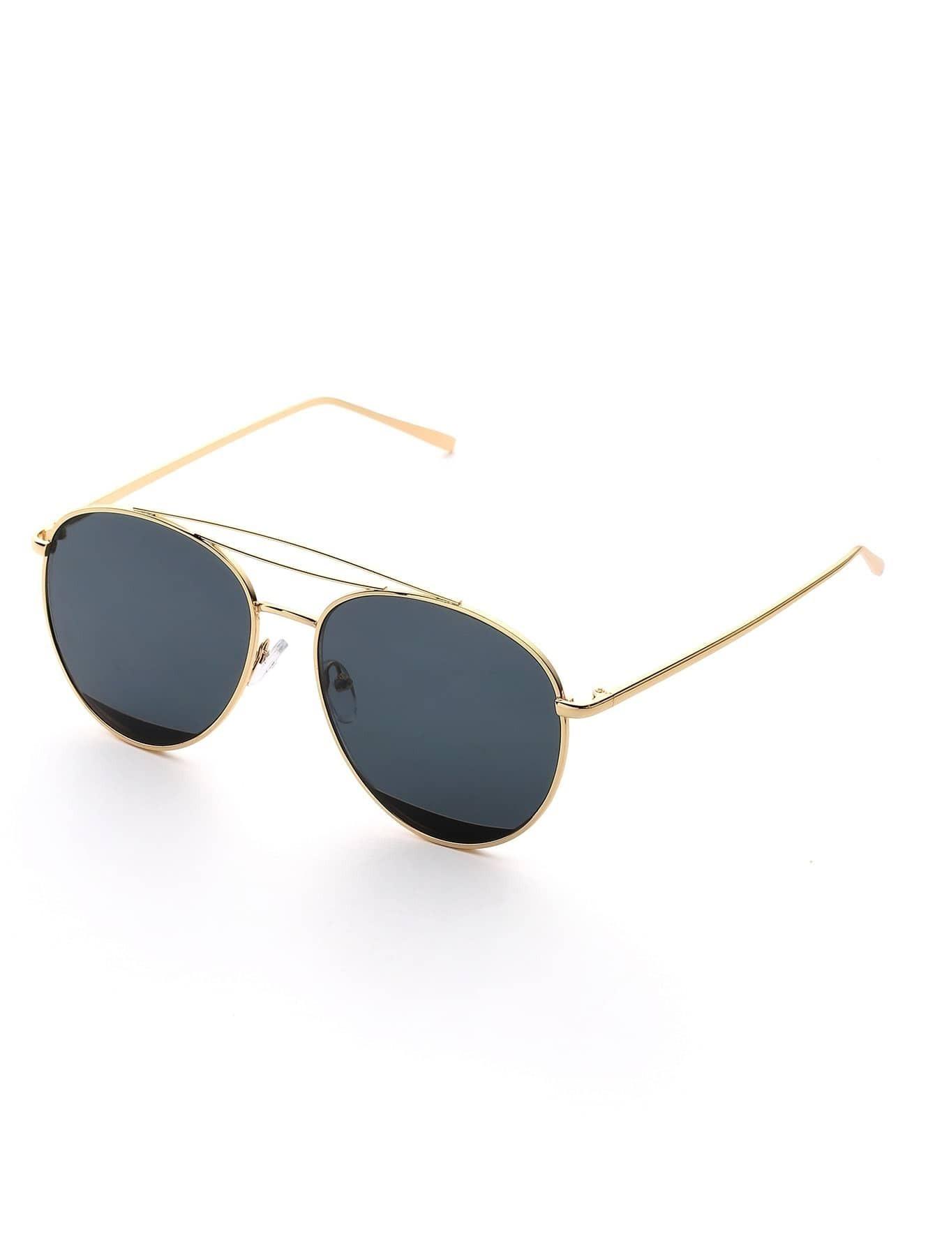 lunettes de soleil d 39 aviateur bicolore french romwe. Black Bedroom Furniture Sets. Home Design Ideas