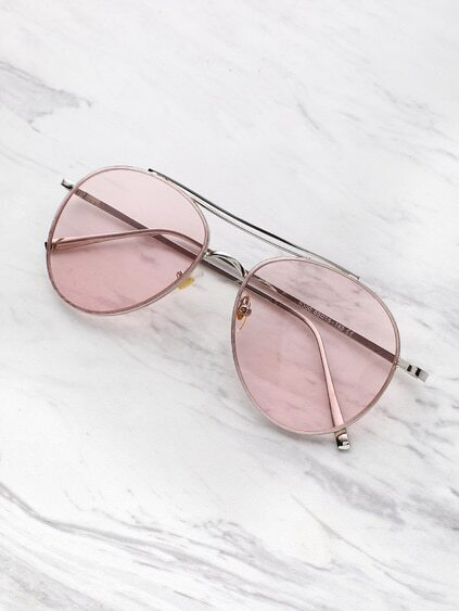 Contrast Top Bar Aviator Sunglasses