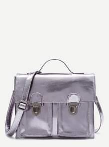 Dual Pushlock Design Flap Messenger Bag