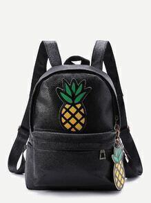 Sac à dos avec le zip et des pièces des ananas