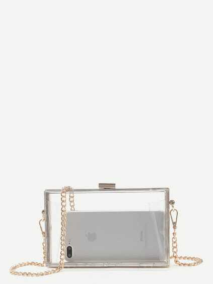 Clear Chain Clutch Bag