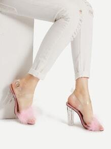 Faux Fur Clear Strap Block Heel Sandals
