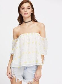 Frayed Jacquard Bell Sleeve Flowy Bardot Top