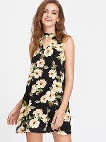 Flower Print Choker Neck Buttoned Keyhole Back Dress