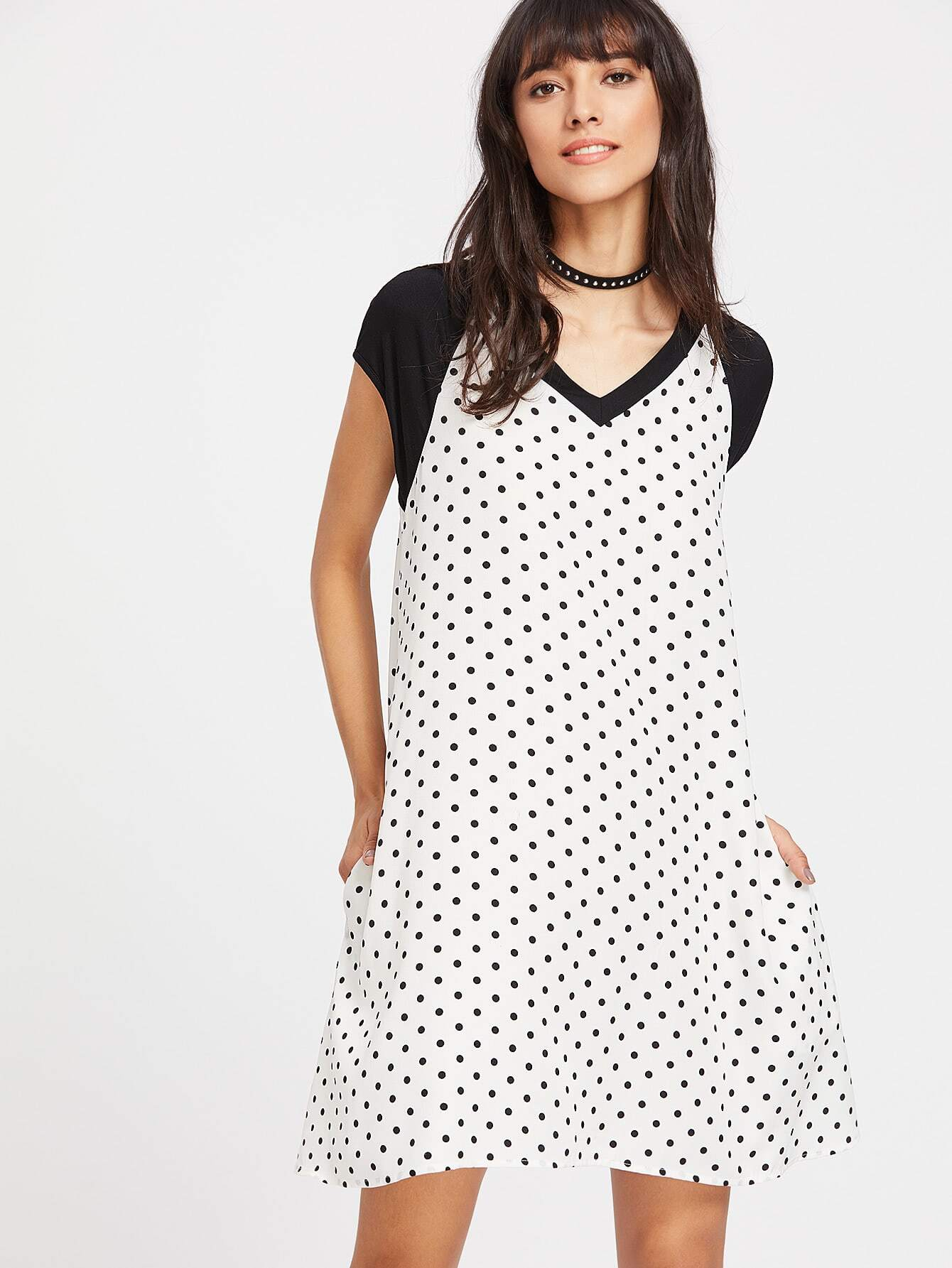 Polka Dot Print Raglan Sleeves  Dress