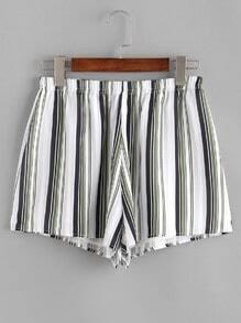 Striped Elastic Waist Shorts