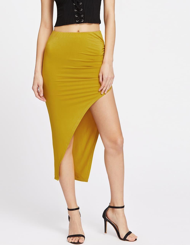 Elastic Waist Shirred Side Asymmetric Skirt