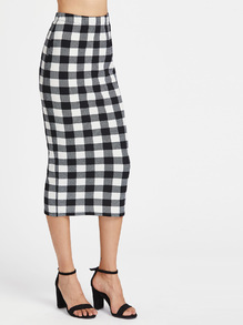 Elasticized Waist Checkered Midi Pencil Skirt