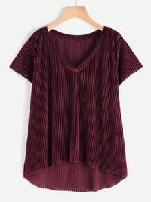 Tee-shirt à rayures à encolure en V