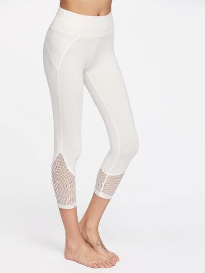 Wide Waistband Fishnet Panel Crop Leggings