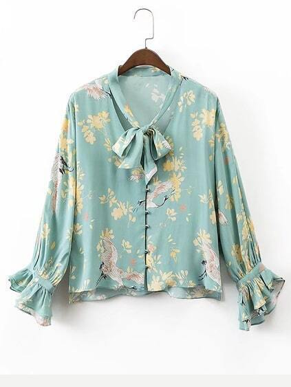 Tie Neck Bell Sleeve Floral Blouse