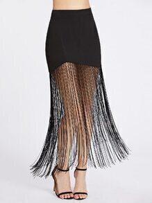 Fringe Hem Zipper Back Skirt
