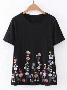 T-Shirt mit Kurzärmeln und Blumenstickereien