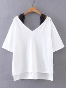 Contrast Lace Cold Shoulder High Low Tee