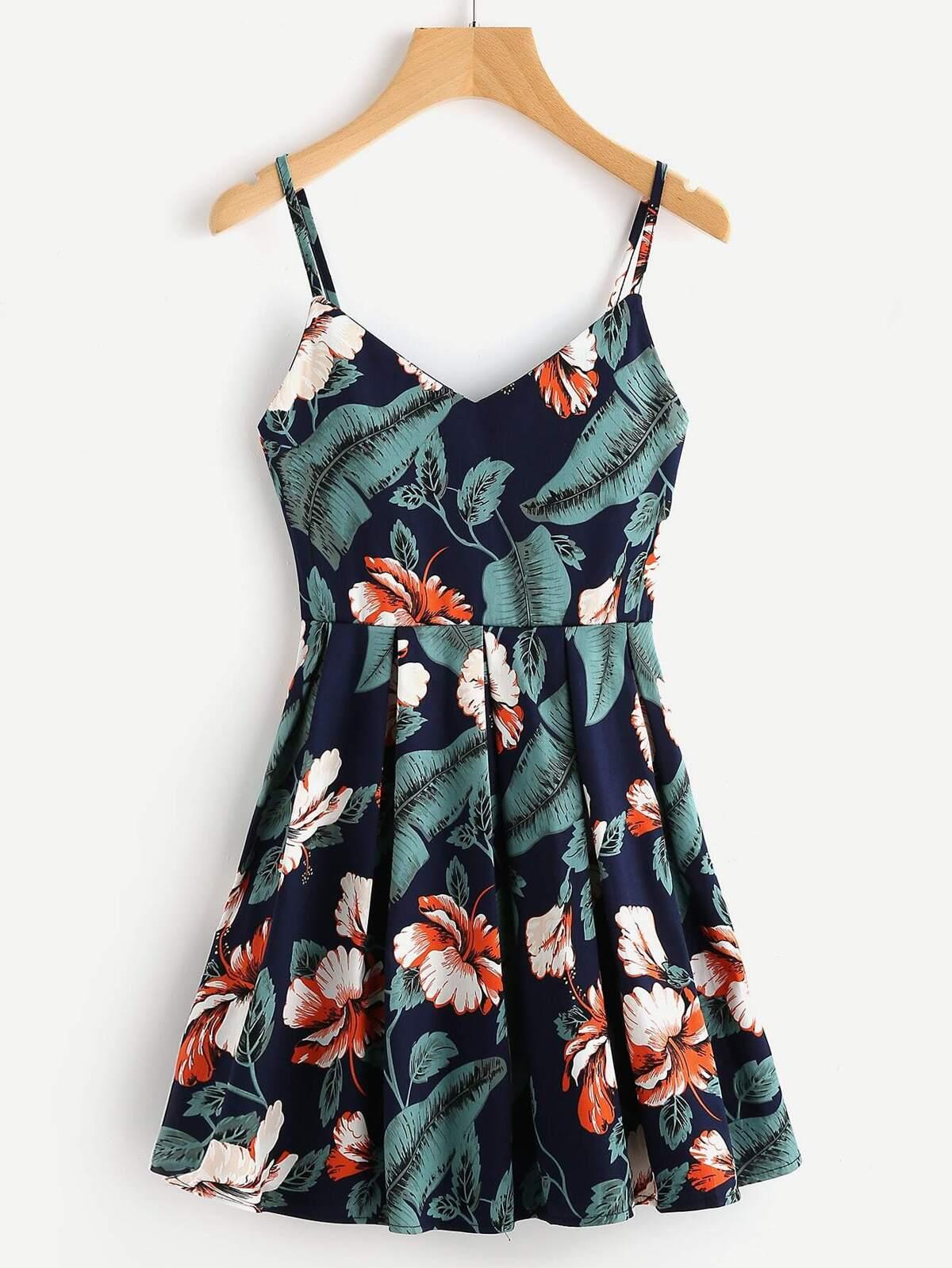 葉狀 花葉 圖片 隨意 箱型褶 無袖女用胸衣 洋裝
