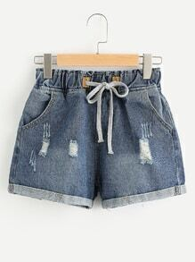 Distressed Drawstring Waist Cuffed Denim Shorts