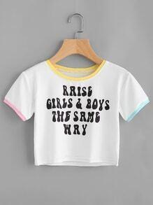 Tee-shirt bicolore découpé imprimé du slogan