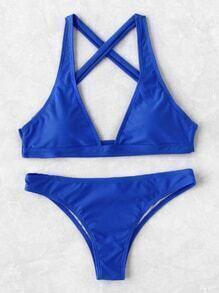 Plunge Neck Cross Back Bikini Set