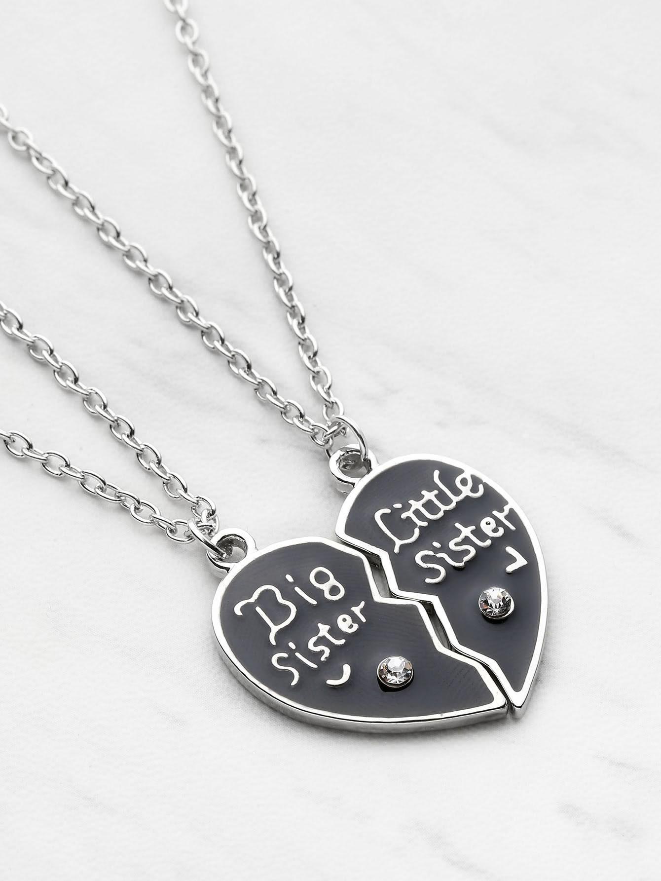 Heart Shaped Friendship Necklace 2pcs