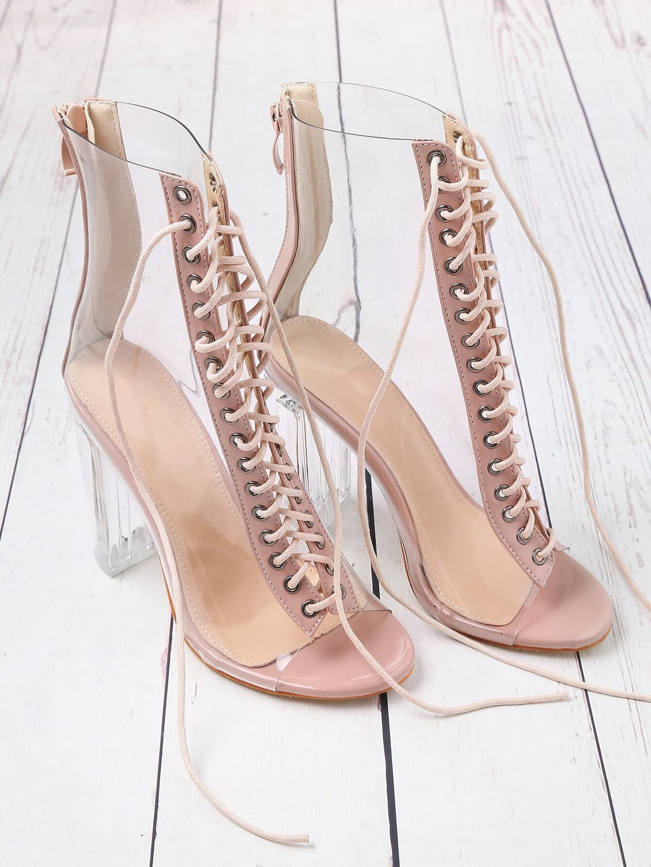 Lace Up Zipper Back Transparent Heels shoes170503817