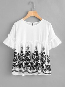 Fluted Sleeve Embroidered Frill Trim Blouse