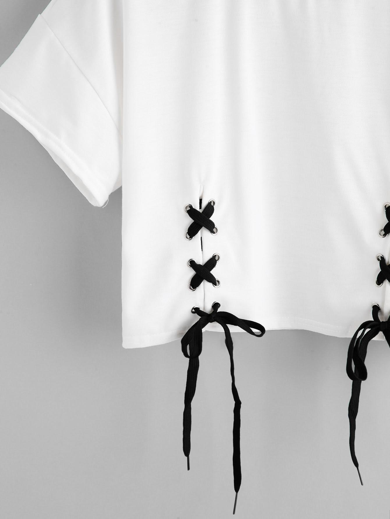 Camiseta con cordones -Spanish Romwe