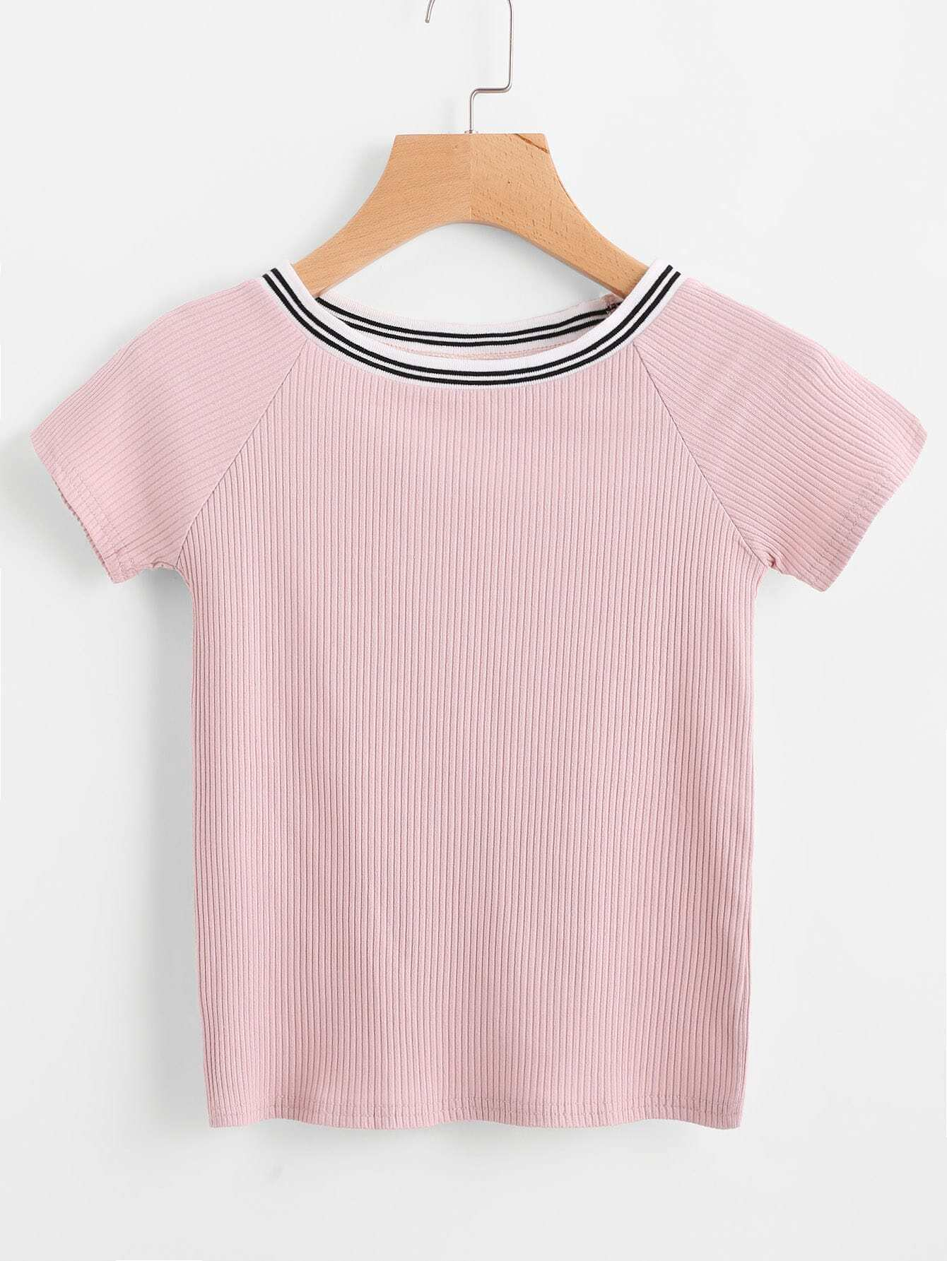 Contrast Striped Trim Ribbed Tee