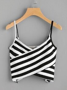 Striped Twist Front Crop Cami Top