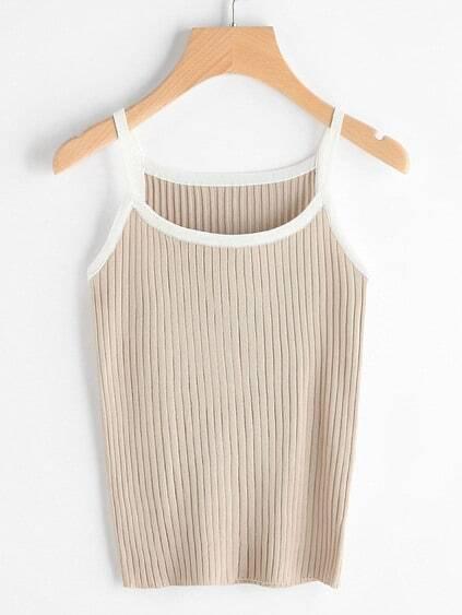 Contrast Trim Ribbed Knit Cami Top