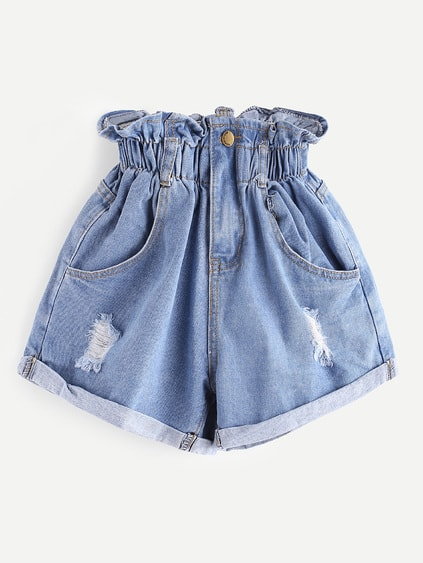 Shorts de fruncido con rotura en denim