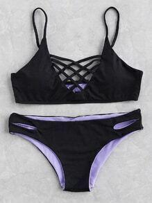Criss Cross Front Side Cutout Bikini Set