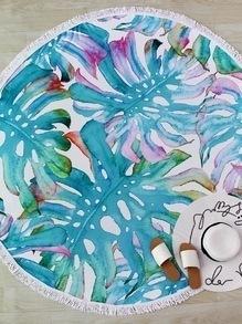 Tapis de plage rond imprimé fleur et oiseau garniture