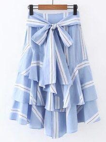 Bow Tie Waist Layered Ruffle Skirt