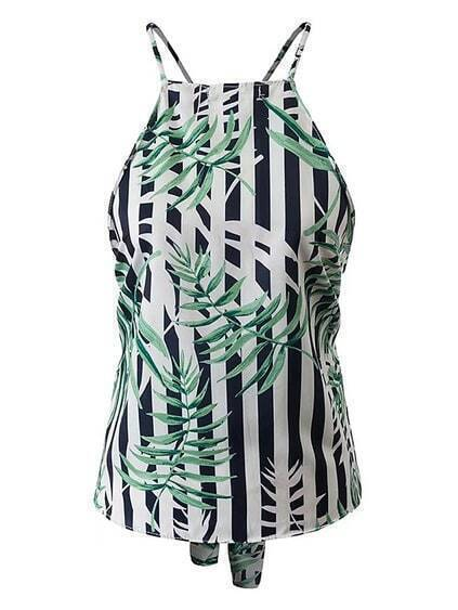 Vertical con rayas Criss Cross Back Top